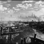 UNITED STATES.  New York City.  1947. Fire in Hoboken, facing Manhattan.